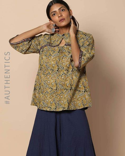Hand Block Print Kalamkari Cotton Top With Bell Sleeves By Indie Picks ( Multi )