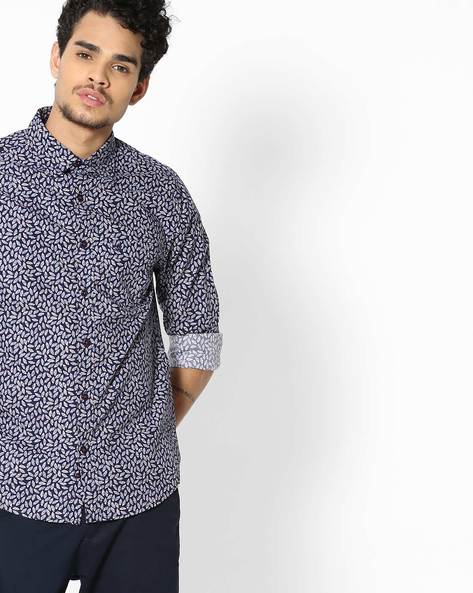 Printed Slim Fit Shirt With Patch Pocket By UNITED COLORS OF BENETTON ( Blue )