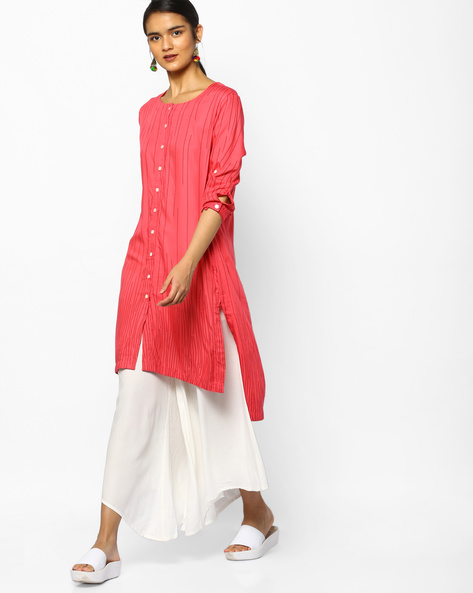 Printed High-Low Kurta By PE IW Casual ( Coral )