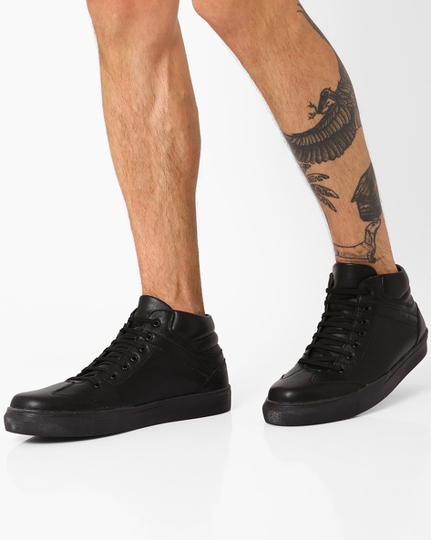Faux-Leather Mid-Cut Sneakers By AJIO ( Black )