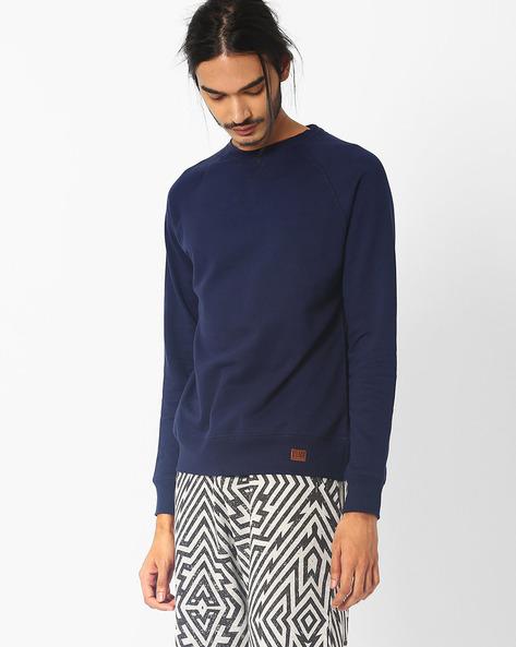 Bio-Washed Slim Fit Sweatshirt By Blue Saint ( Navy )