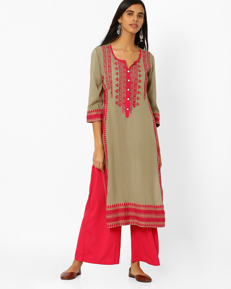 Straight Kurta With Embroidered Yoke By Kifahari ( Grey )