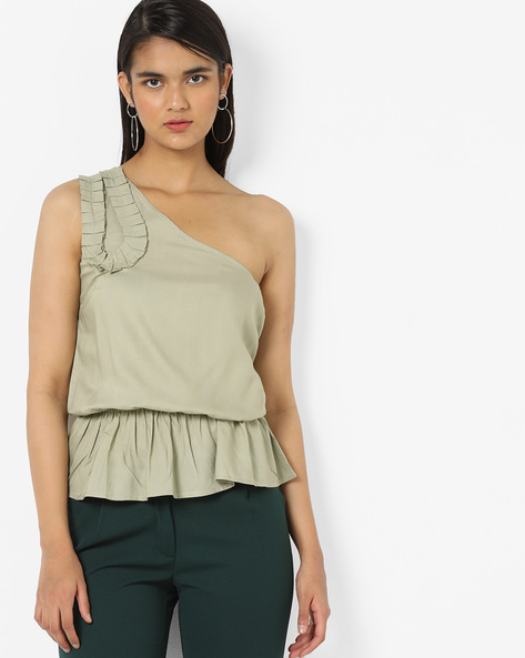One-Shoulder Peplum Top By AJIO ( Duskygreen )