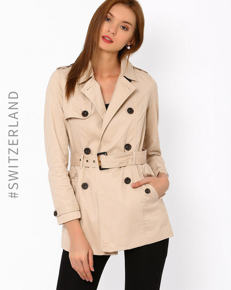 Double-Breasted Trench Coat By TALLY WEiJL ( Beige )