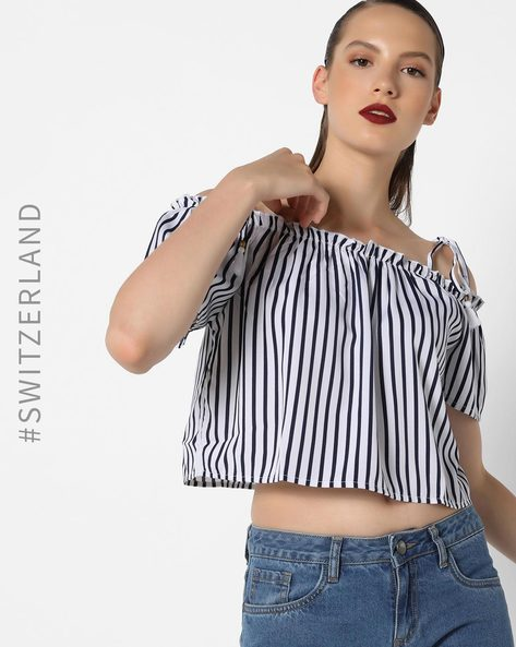 Off-Shoulder Top With Tie-Ups By TALLY WEiJL ( White )