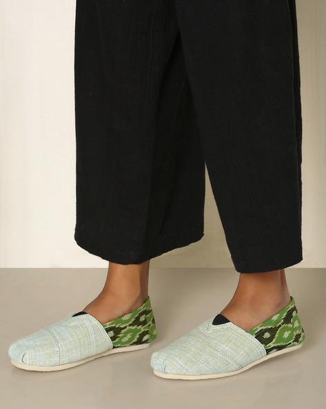 Handwoven Khadi Ikat Espadrilles By Rivir ( Green )