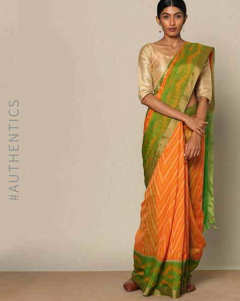 Handloom Ikat Pure Silk Cotton Saree By Rudrakaashe-MSU ( Orange )