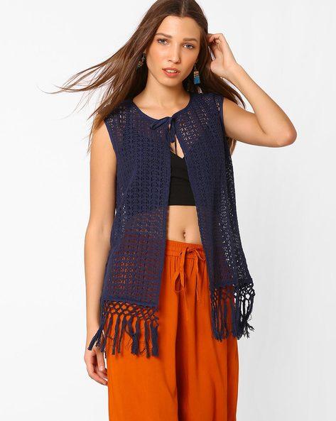 Crochet Shrug With Tie-Up By AJIO ( Navyblue )