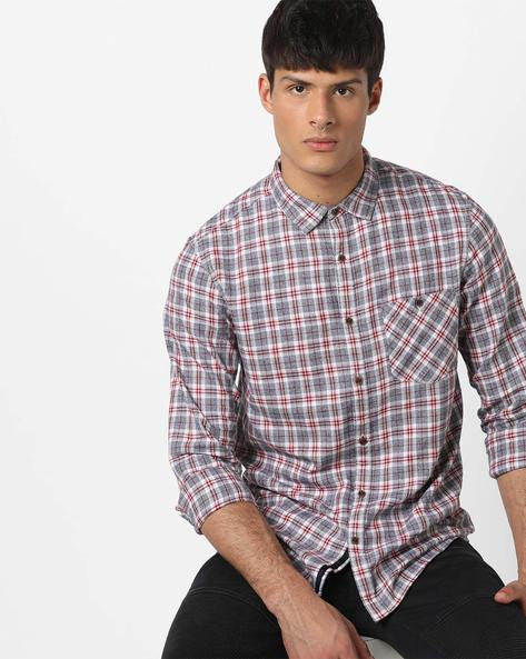 Checked Casual Shirt With Patch Pocket By AJIO ( Blue ) - 460157344013