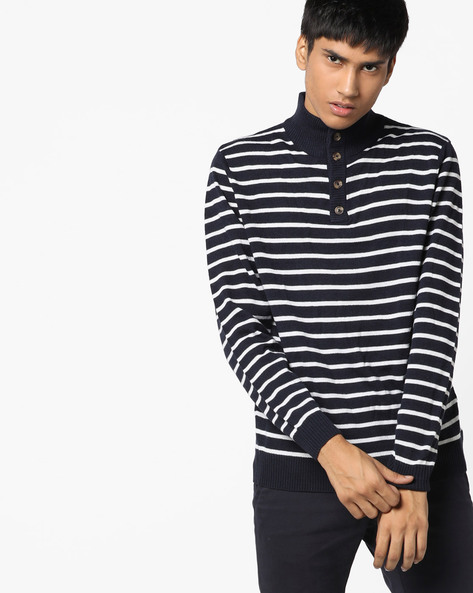 Striped Pullover With Ribbed Neckline By FLYING MACHINE ( Assorted )