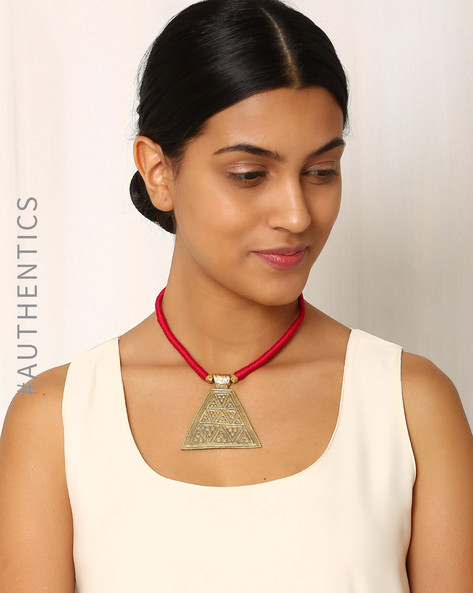 Handcrafted Dhokra Brass Necklace By Indie Picks ( Black ) - 460016962001