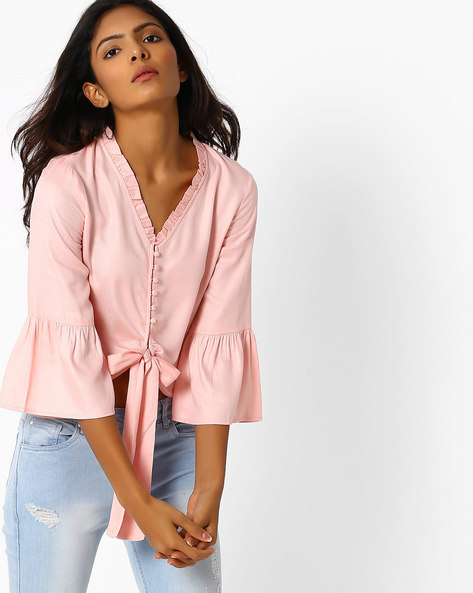 Crop Top With Bell Sleeves By Femella ( Pink )