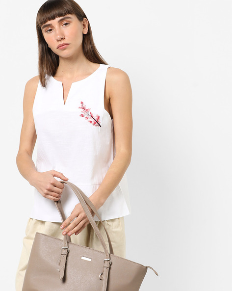 Sleeveless Top With Embroidery By AJIO ( White )