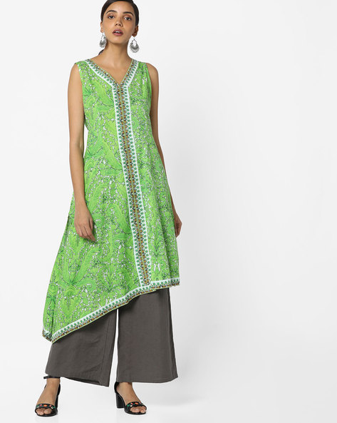 Sleeveless Printed Kurta With Asymmetric Hem By Rain & Rainbow ( Green )