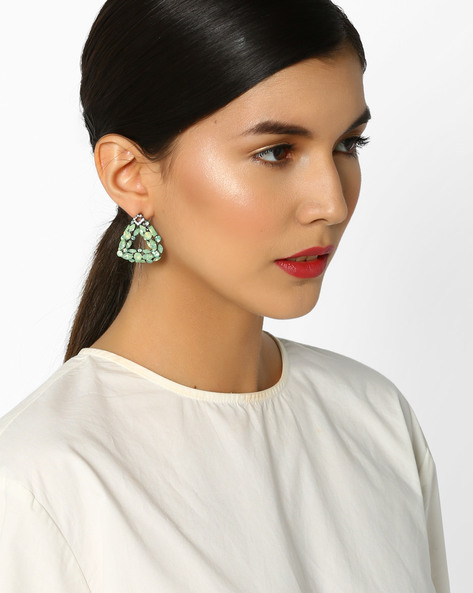 Statement Earrings With Rhinestones By Fayon ( Green )