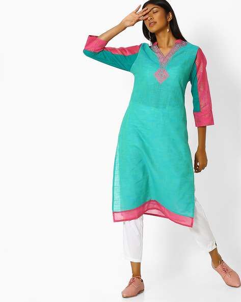 Self-Striped Kurta With Embroidered Neckline By Purple Tree ( Turquoise )