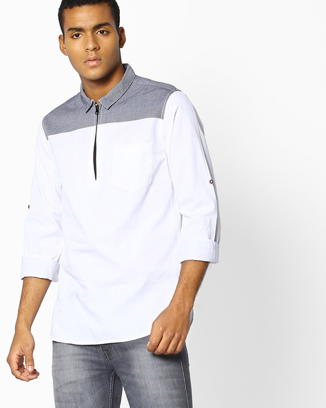 Slim Fit Shirt With Patch Pocket By The Indian Garage Co ( Clearblack )