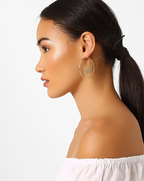 Hoop Earrings With Crystals By Pipa Bella ( Gold )