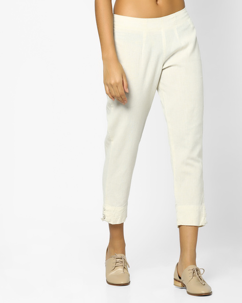 Ankle-Length Pants With Elasticated Waist By AJIO ( Cream )