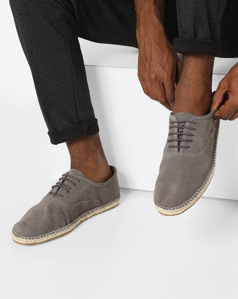 Suede N9-Treated Lace-Up Espadrilles By AJIO ( Grey )