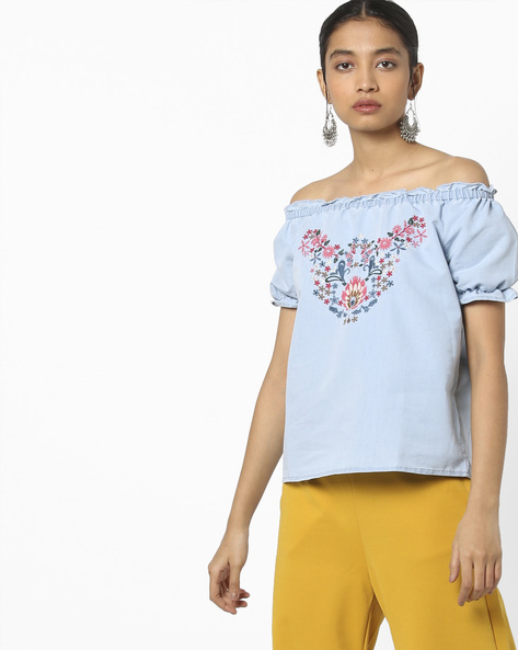 Embroidered Off-Shoulder Top By AJIO ( Lightblue )