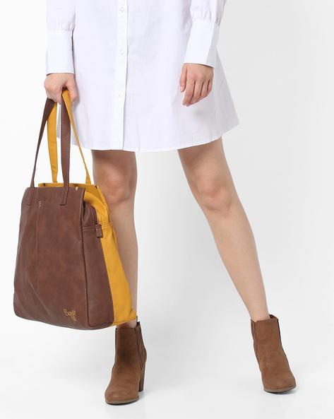 Colourblock Tote Bag By BAGGIT ( Cappuccino )