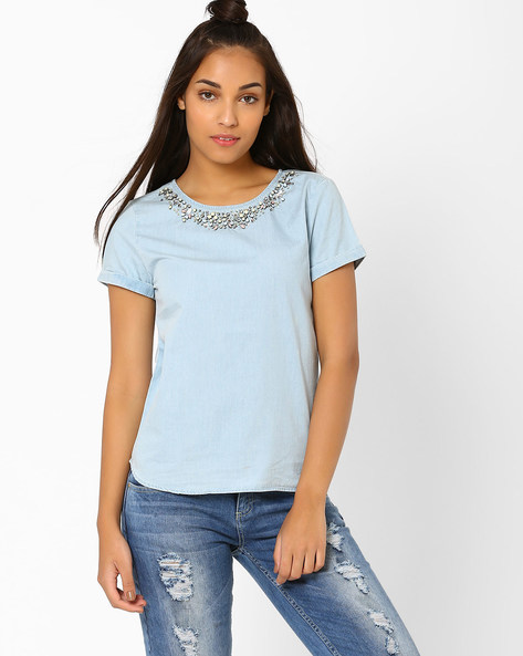 Embellished Denim Top By AJIO ( Lightblue )