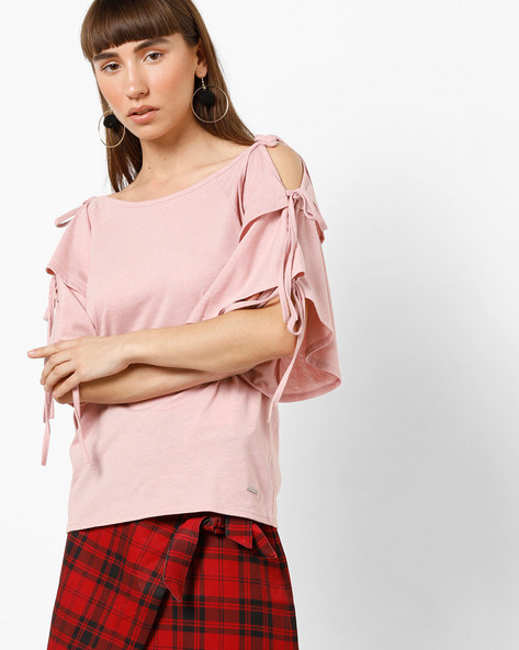 Cold-Shouldered Top With Tie-Up Sleeves By Vero Moda ( Pink )