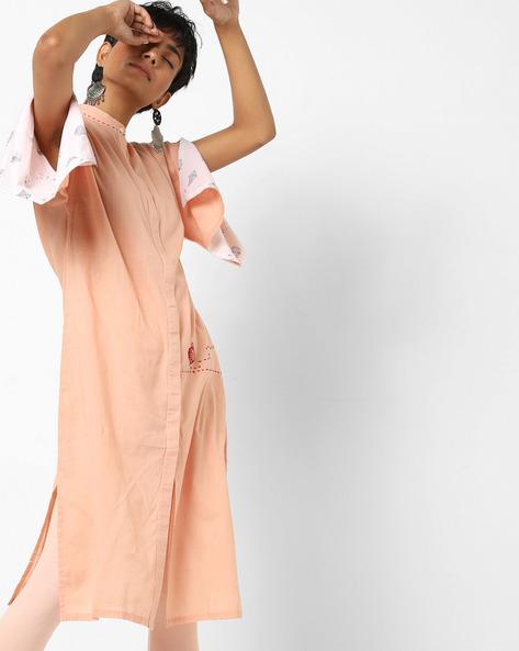 Straight Kurta With Drop-Shoulder Sleeves By AJIO ( Peach )