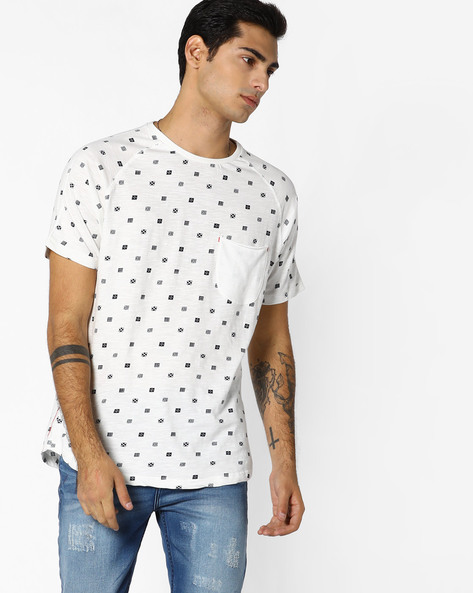 Printed T-shirt With Raglan Sleeves By RINGSPUN ( Offwhite )