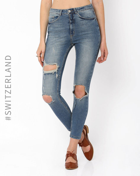 Distressed Skinny Jeans By TALLY WEiJL ( Blue ) - 460014542002