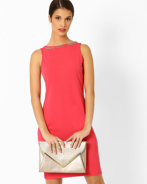 Sheath Dress With Embellished Neckline By AJIO ( Coral )