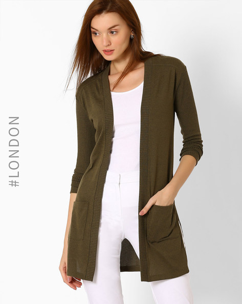 Cardigan With Patch Pockets By Marks & Spencer ( Khaki )