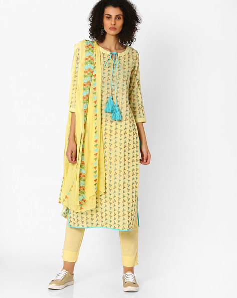 Embroidered Kurta With Pants & Dupatta By Uptowngaleria ( Yellow )