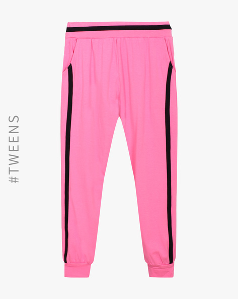 Cuffed Track Pants With Contrast Stripes By AJIO ( Pink )