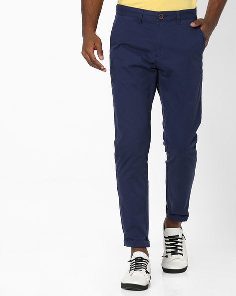 Flat-Front Tapered Chinos By NETPLAY ( Blue )
