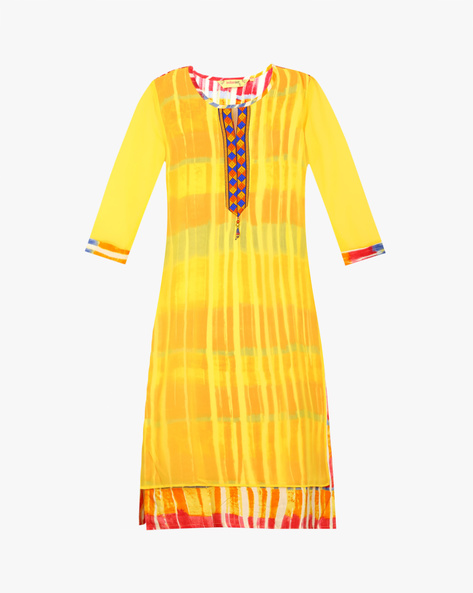 Printed Straight Kurta By Indian Ink ( Yellow )
