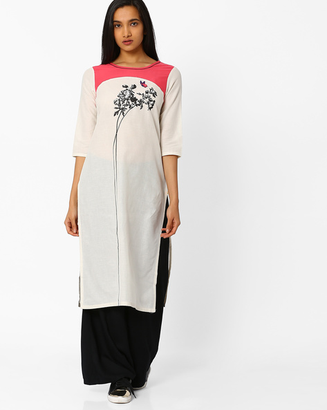 Straight Kurta With Contrast Yoke By AURELIA ( Cream )