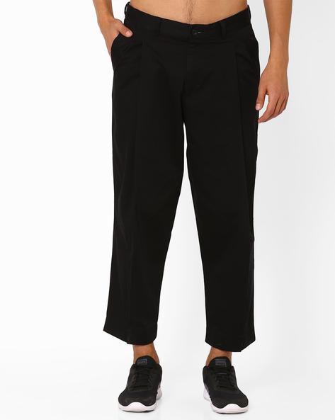 Pleated Cotton Trousers By ADAMO LONDON ( Black )