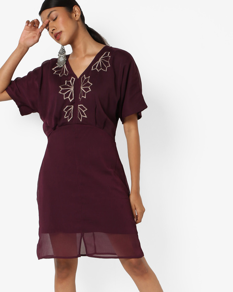 Panelled Dress With Embroidery By AJIO ( Purple )
