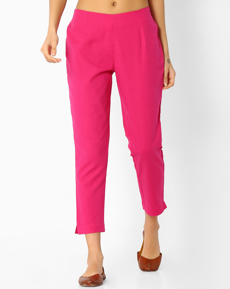 Cropped Pants With Elasticated Waist By Melange By Lifestyle ( Fuchsia )