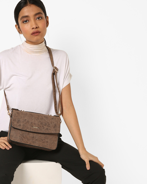 Textured Sling Bag With Adjustable Strap By Diana Korr ( Darkbrown )