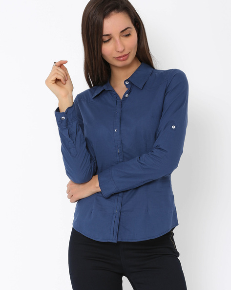 Shirt With Concealed Button Placket By DNM X ( Navy )