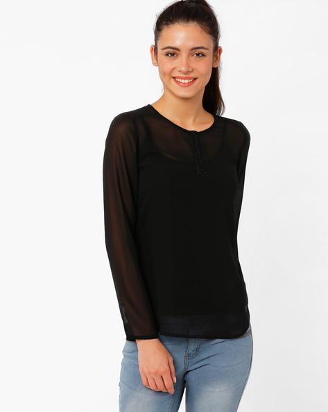 Sequinned Sheer Top By The Vanca ( Black )