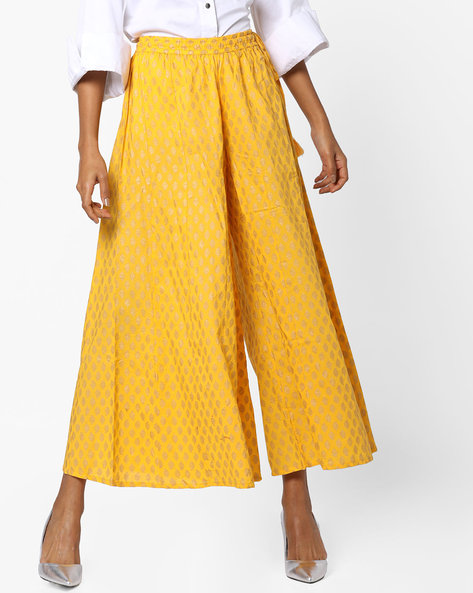 Flared Palazzos With Elasticated Waist By Melange By Lifestyle ( Mustard )