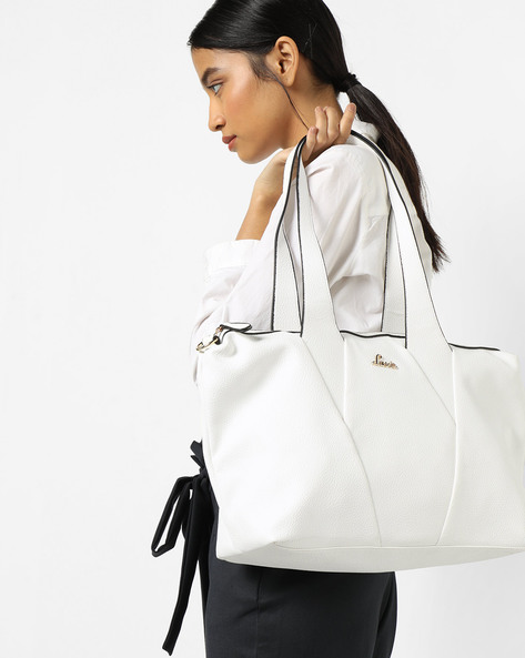 Lunar Panelled Handbag With Detachable Strap By Lavie ( White )