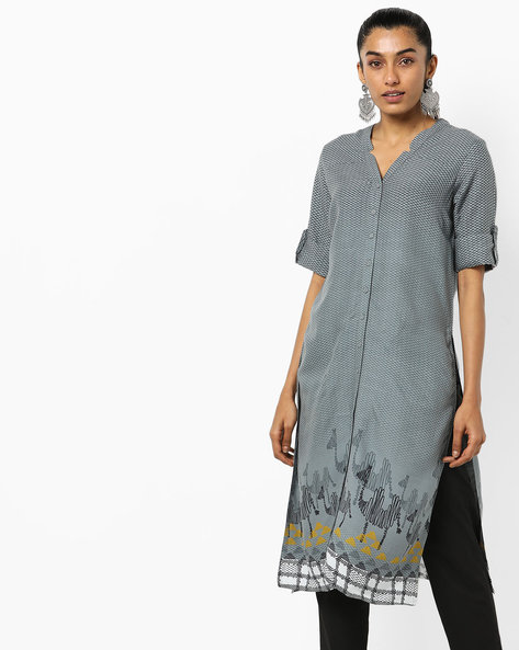 Printed Tunic With Notched V-neck By Global Desi ( Grey )