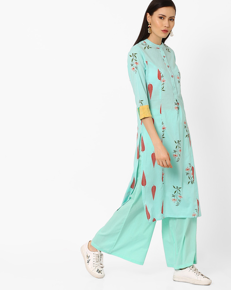 Floral Print Kurta With Mandarin Collar By AJIO ( Teal )