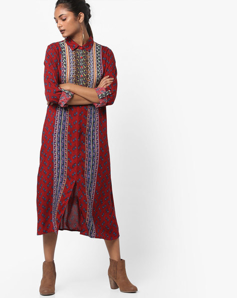 Printed Straight Kurta With Shirt Collar By Melange By Lifestyle ( Red )