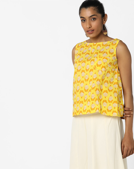Floral Print Sleeveless Top By AJIO ( Yellow )